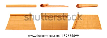 Rolled straw mat isolated over white background, set of six foreshortenings