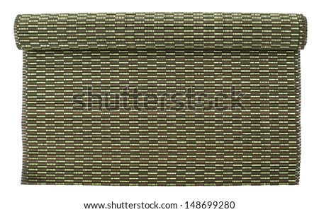 Rolled straw mat isolated over white background, top view