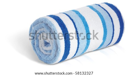 rolled up blue and white beach towel on a white background