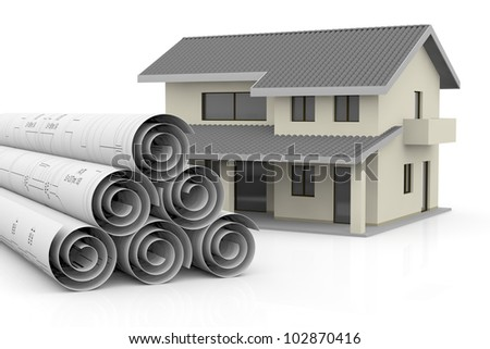rolled up blueprints with a house near them (3d render)