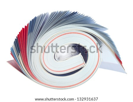 rolled up magazine, blue pages,isolated on white background