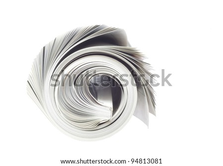 rolled up newspaper, isolated on white background, free copy space