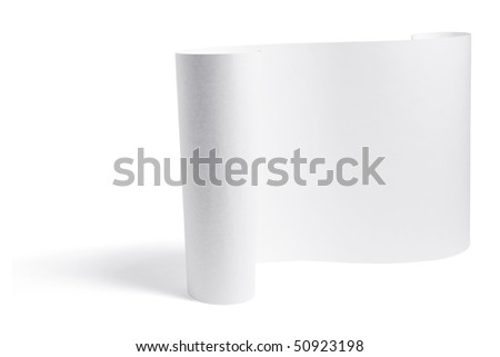 Rolled Up Paper on White Background