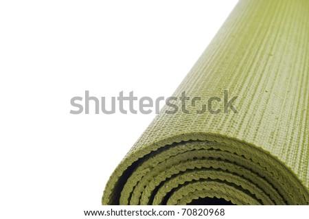 Rolled Yoga Mat Border Background with Copy Space