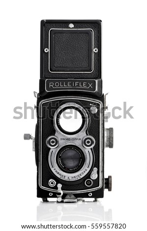 rolleiflex  isolated on white...