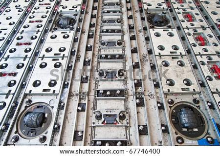 roller at floor inside air cargo freighter