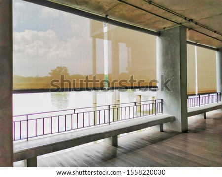 Roller blinds used to shade the building. Foto stock ©