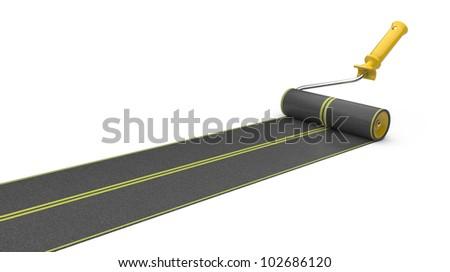 roller brush paint road. road building concept. 3d illustration