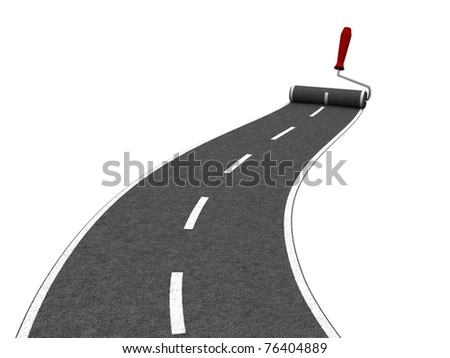 Roller brush painting asphalt road