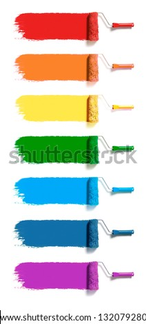 Roller brush set. seven colors paint rollers track