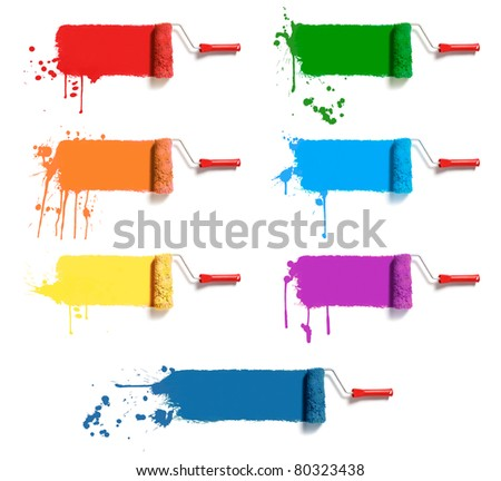 roller brushes with seven colors paint
