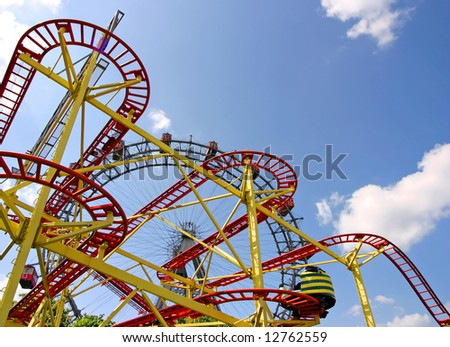 Roller coaster and large ferris wheel in Vienna