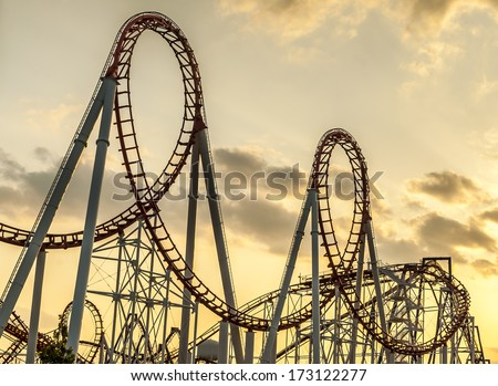 Roller Coaster's loops at sunset.