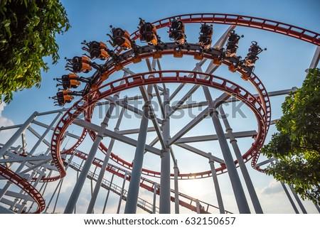 Roller Coaster Track on background of blue sky