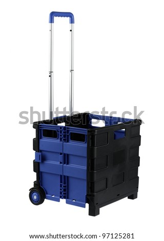 Roller container whit wheels for carry stuffs isolated on white