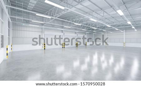 Roller door or roller shutter inside factory or warehouse building. Industrial building interior with polished concrete floor and empty space for product display or industry background. 3d rendering.