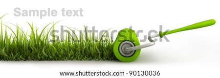 roller draws the road from the green grass. isolated on white. High resolution. 3D image - stock photo