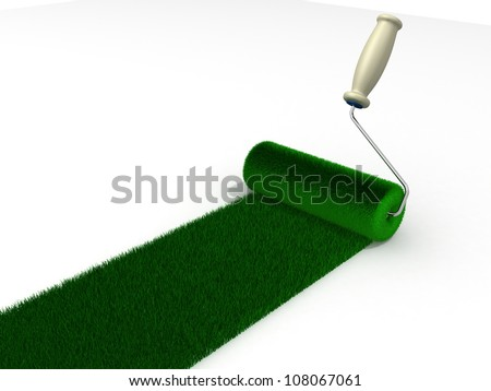 roller draws the road from the green grass on white background