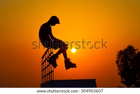 Roller skater silhouette isolated  #304903607