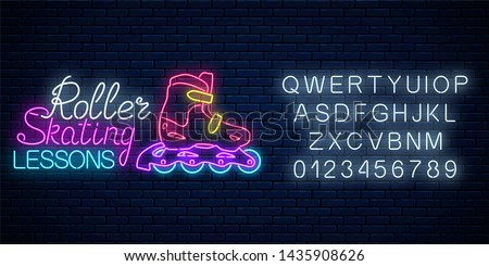 Roller skates glowing neon sign with alphabet. Roller skating lessons advertising sign. Skate zone symbol in neon style.