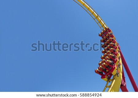 Rollercoaster Ride (against blue sky) Foto stock ©