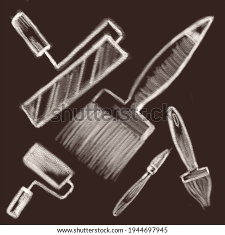 Rollers and brushes illustration with white chalk, troit tools with white chalk on a dark background Photo stock ©