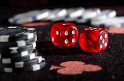 Rolling winning dice at casino