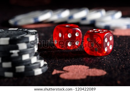 Rolling winning dice at casino
