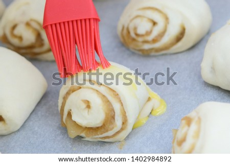 Rolls dough preparation sweet dessert buns pastry food baked homemade mini snack. Preparations in the kitchen for a nice meal.