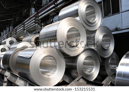 Rolls of aluminum sheet - stock photo