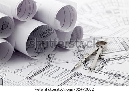 rolls of architecture blueprint & compass