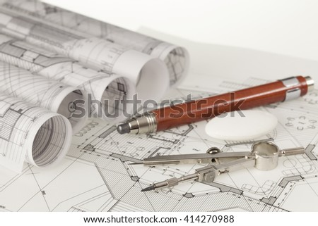 Royalty free architecture plan work tools ruler 82795396 rolls of architecture blueprints house plans 414270988 malvernweather Images