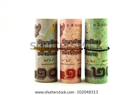 Rolls of bank note of Thai currency - stock photo