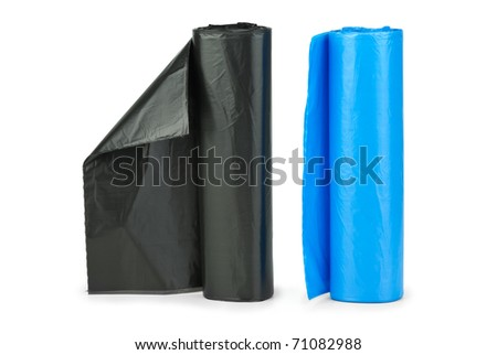 Rolls of blue and  black plastic garbage bags isolated on the white background
