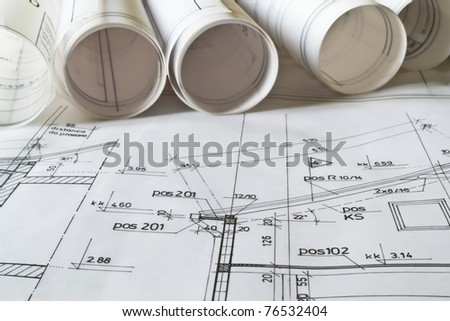 ... for house construction,architectural plan close up - stock photo
