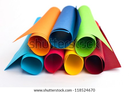 Rolls of color paper