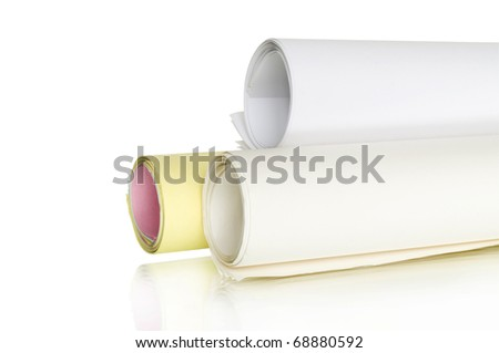 rolls of color papers plans isolated on white and reflection