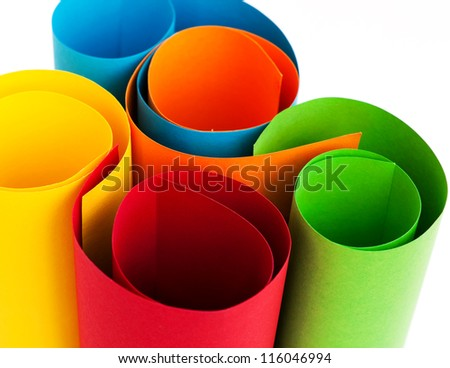 Rolls of colored paper