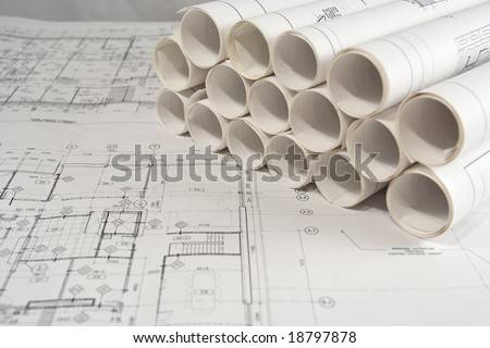 Rolls of engineering (or architectural) drawings (blueprints)