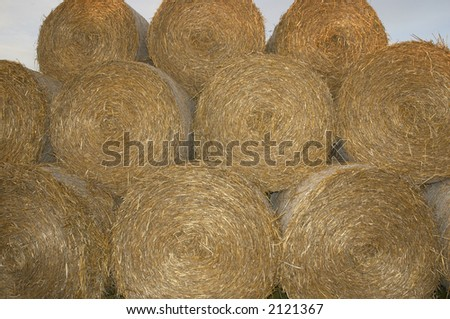 rolls of hay stacked