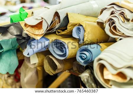rolls of multicolored textile #765460387
