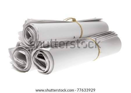Rolls of Newspapers on White Background