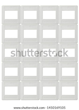 Rolls of plastic Frame for Positive film isolated on background with empty space in middle #1450169105