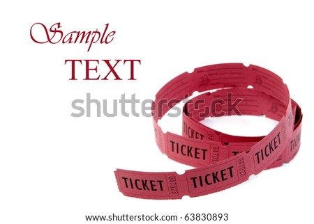 Rolls of red tickets connected together for admission