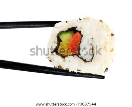 Rolls of sushi isolated on white