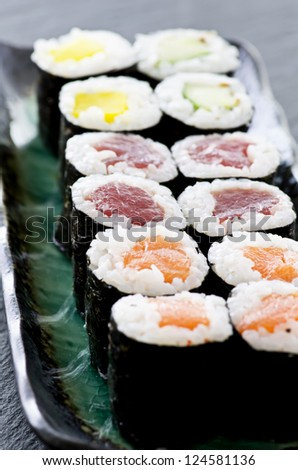 rolls with salmon and tuna