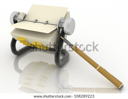 rolodex and pen on a white background