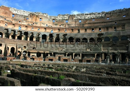 Roma - Amphitheatre Flavian Colosseum. Ancient arena - stock photo
