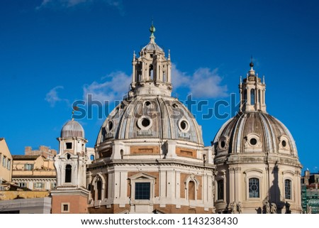 Roma street view. Domes of the old architecture in Italy. Capitol square #1143238430
