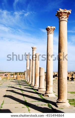 Romain ruins in Timgad - Batna Algeria - Shutterstock ID 455494864